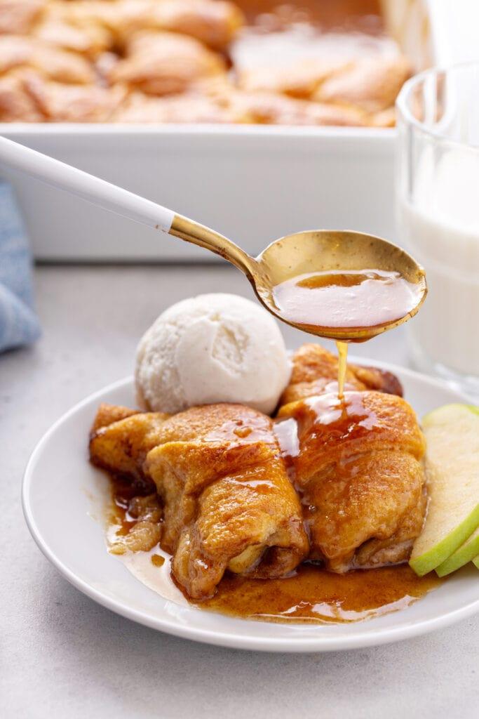 Apple Dumplings, Caramel Sauce, and a Scoop of Ice Cream