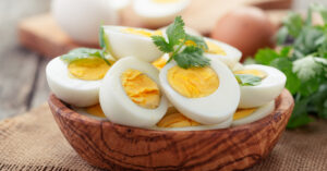 Hard Boiled Eggs in Wooden Bowl