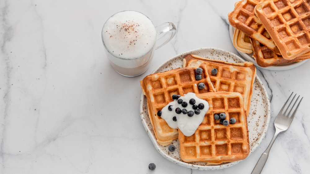 Blueberries and Yogurt Waffle