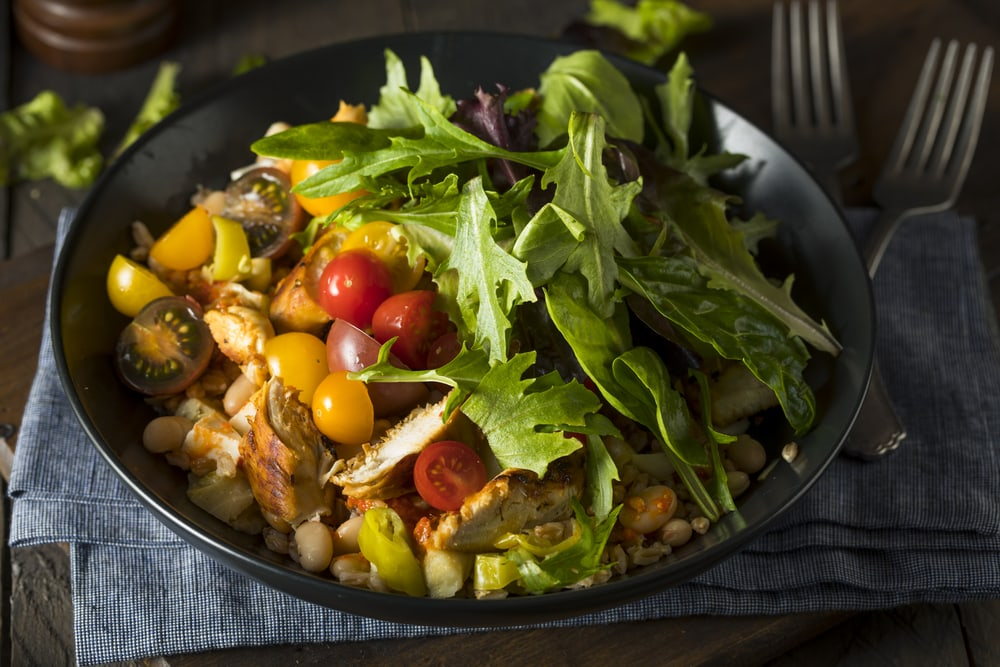 Warm Farro & Mustard Green Salad With Maple-Roasted Acorn Squash