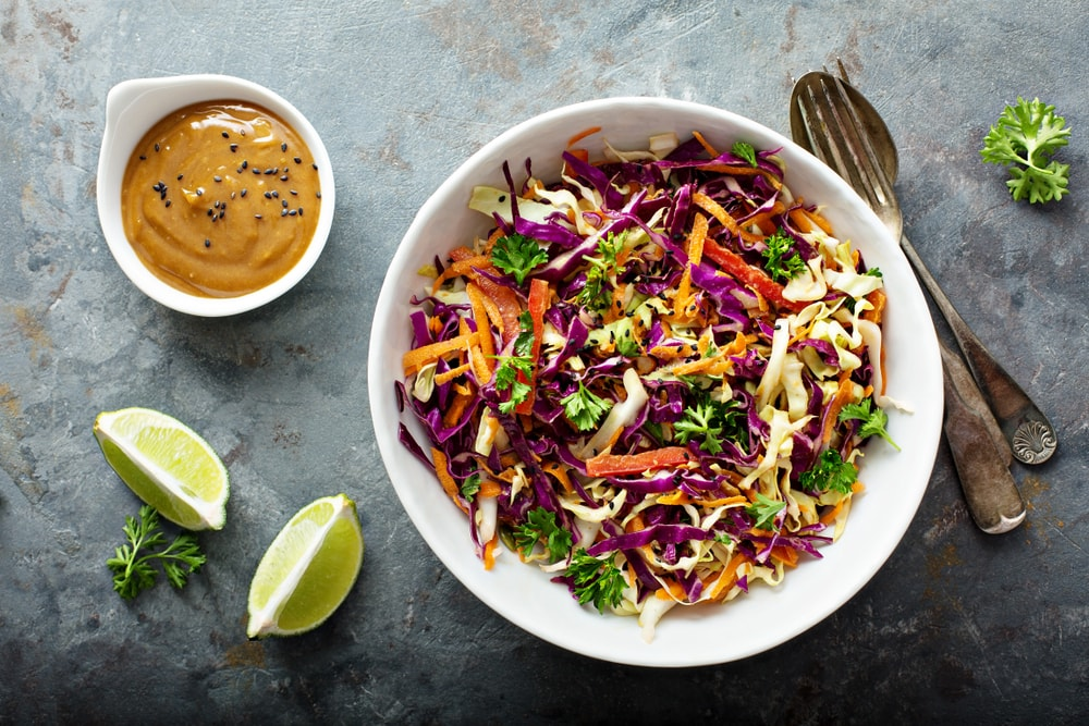 Asian Salad with Sesame and peanut butter dressing