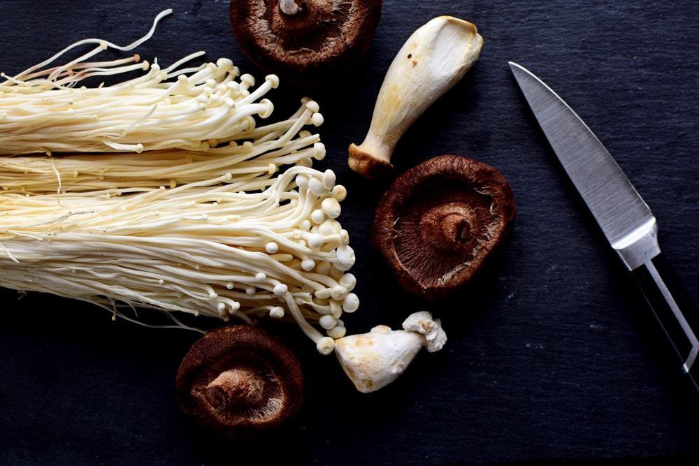enoki and shitake mushrooms