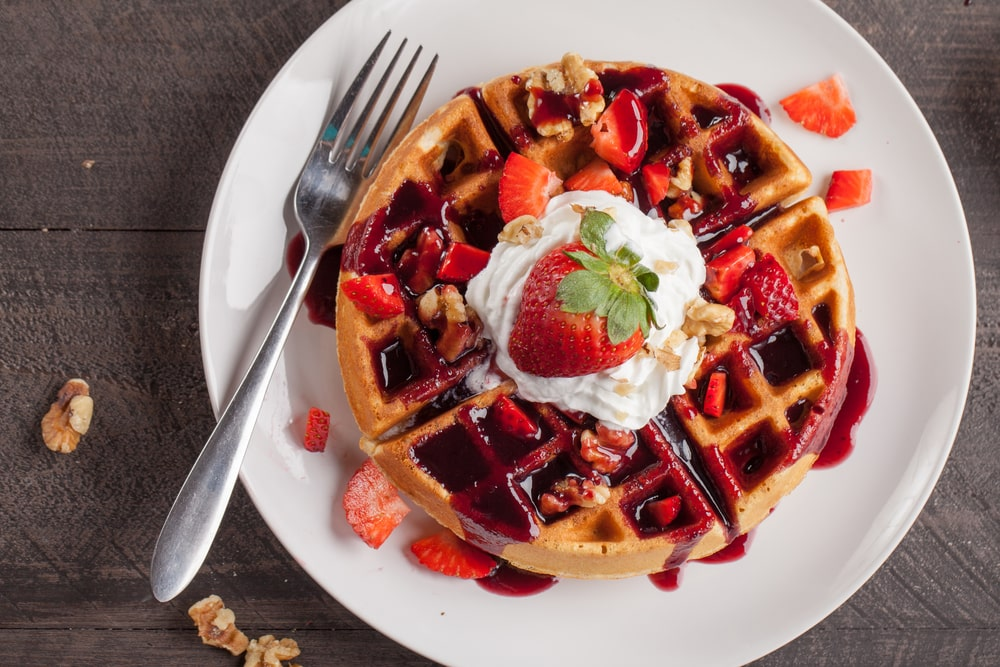 Waffle with Strawberry Syrup