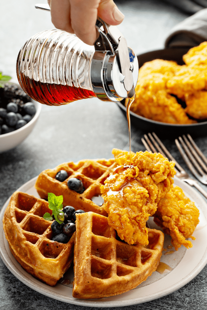 Bisquick Waffles with Chicken, Blueberry and Syrup