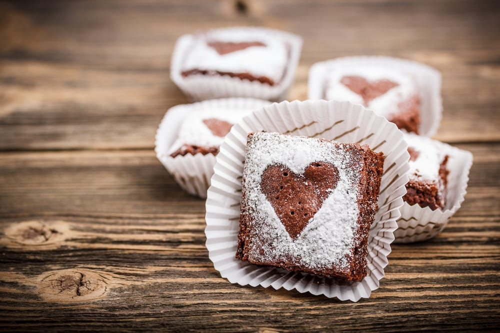 Brownies with Powdered Sugar Patterns