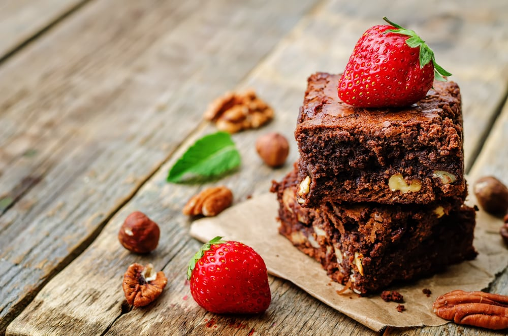 Brownie With Strawberry Topping