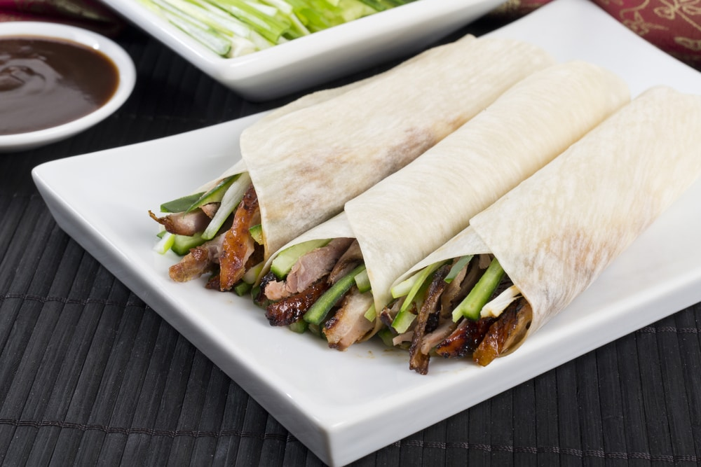 Peking Duck Wrapped in Pancakes