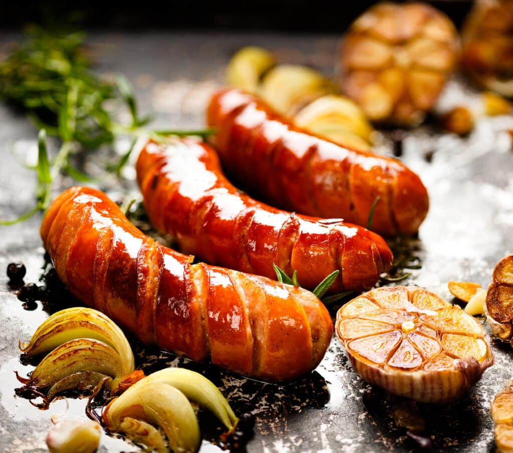 Roast Sausage With Garlic and Onions