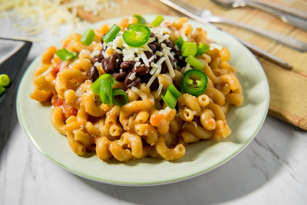 Mac and Cheese With Jalapenos and Black Beans