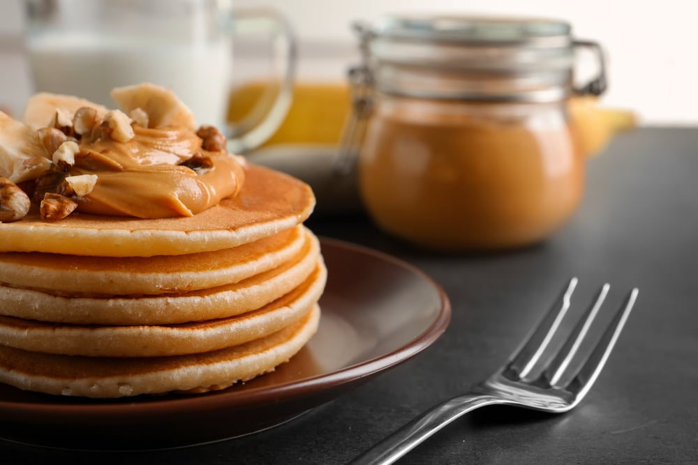 Pancakes with Peanut Butter Topping
