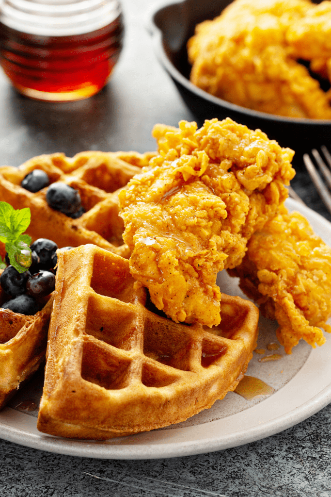 Bisquick Waffles with Chicken and Blueberries