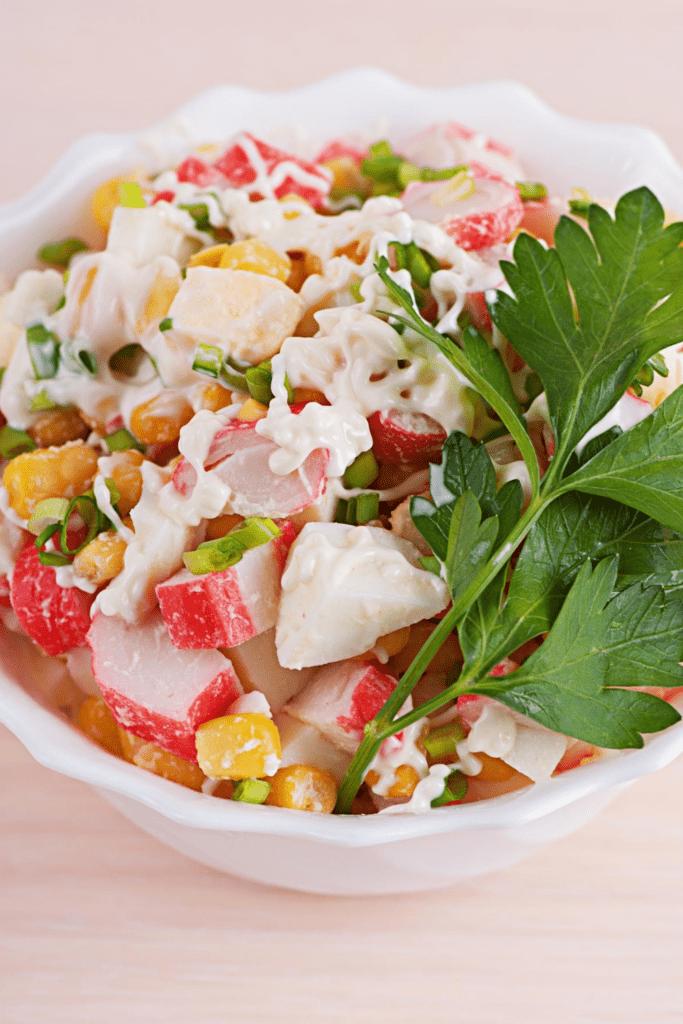 Bowl of Crab Salad with Mayonnaise
