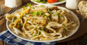Homemade Fettucine Alfredo With Chicken Strips