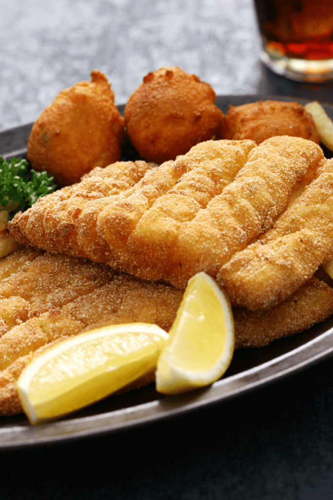 Fried Catfish With Lemons and Hushpuppies