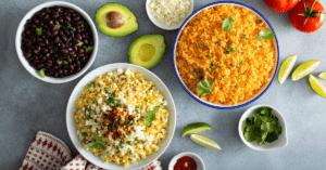 Black Beans, Corn Salad and Spanish Rice