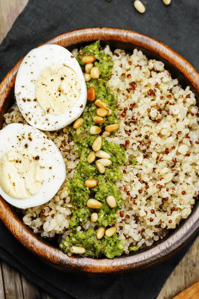 Pesto Quinoa With Hard-Boiled Egg