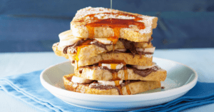 French Toast With Syrup, Peanut Butter and Bananas
