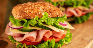 Ham Sandwich with Lettuce and Onions