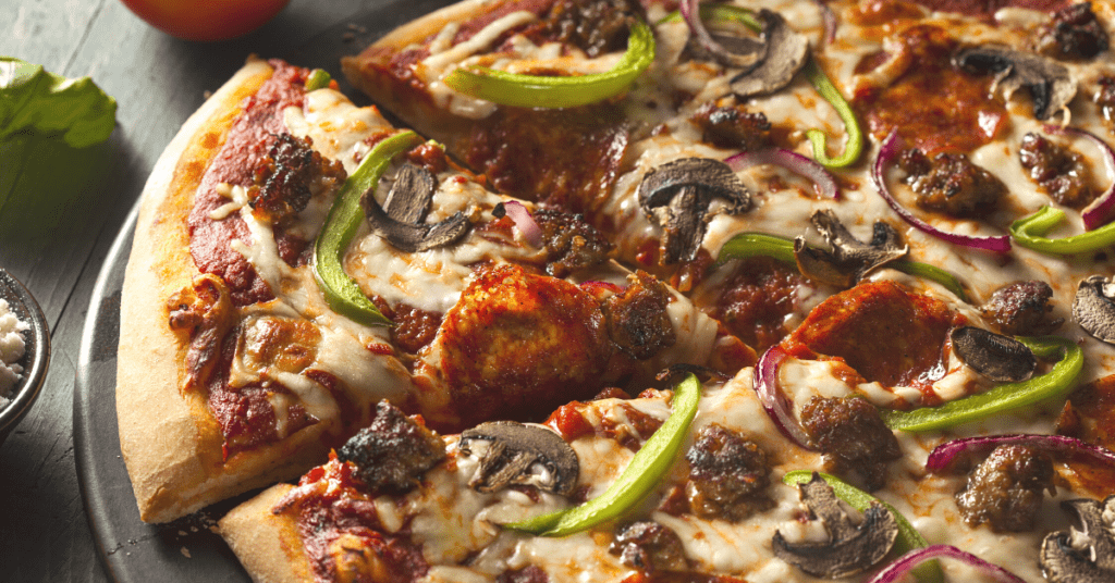 Supreme Pizza Toppings: Pepperoni, Bell Pepper, Mushrooms and Red Onions