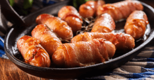 Mini Sausages Wrapped In Bacon