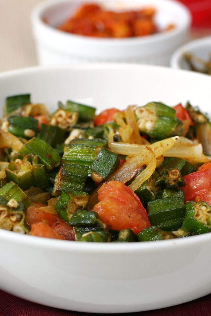 Bowl of Okra and Tomatoes