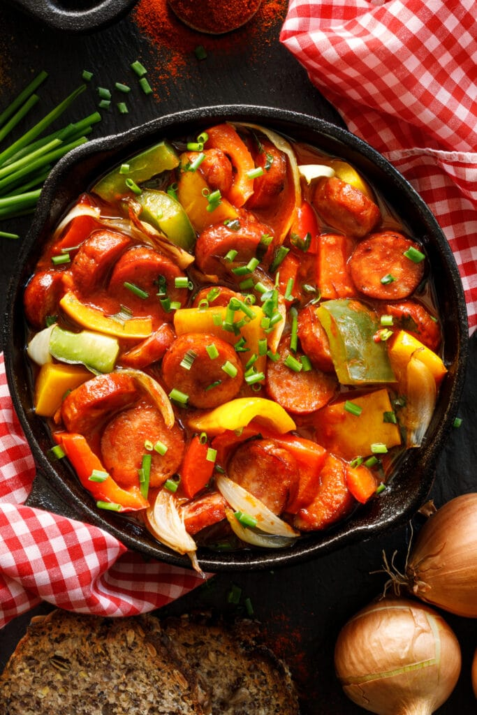 Sauteed Peppers and Onions with Sausage
