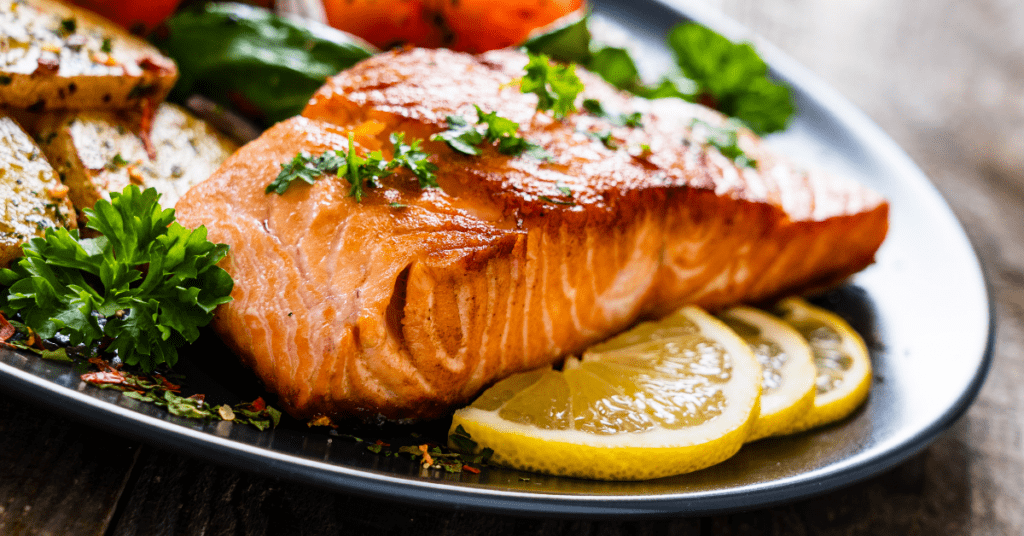 Baked Salmon Steak with Herbs and Lemons