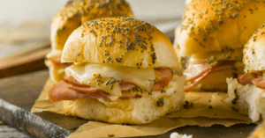 Ham and Cheese Buns with Mayo and Poppy Seeds