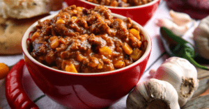 Homemade Chili Corn Carne in a Bowl