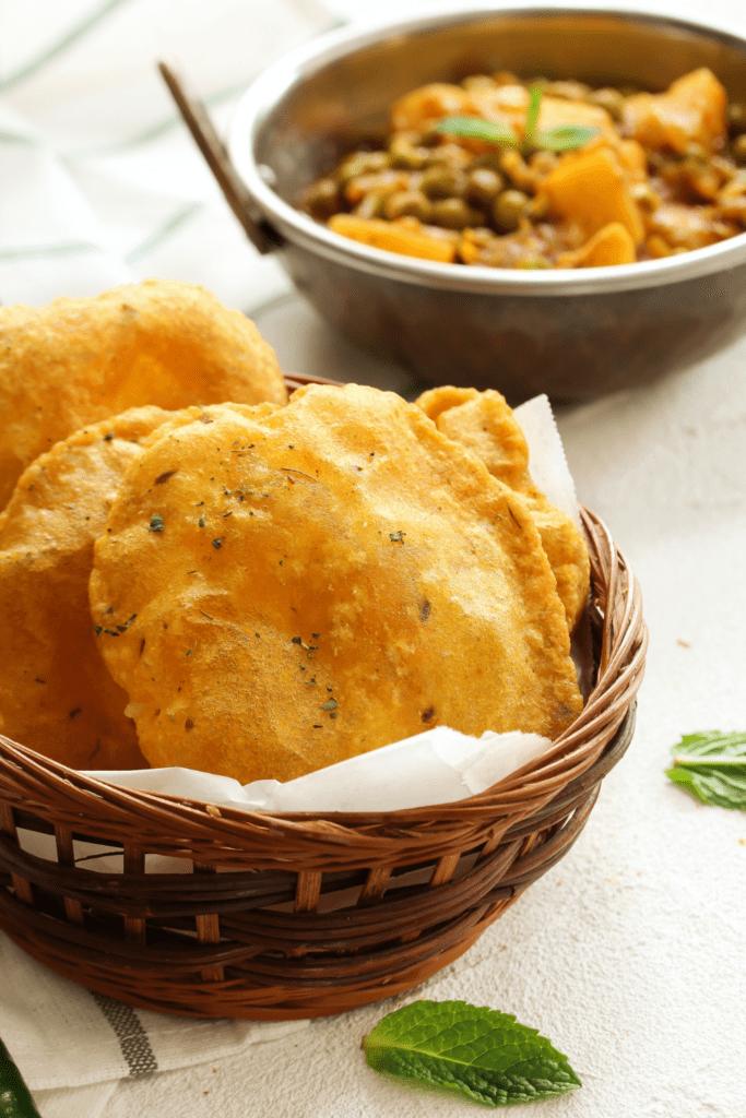 Puri Bread in a Basket