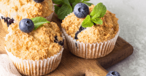 Blueberry Muffins with Blueberries and Mint Leaves