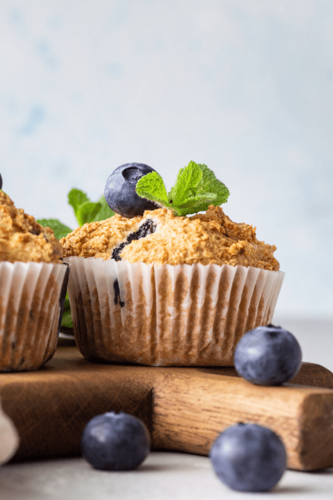 Blueberry Muffins with Mint Leaves