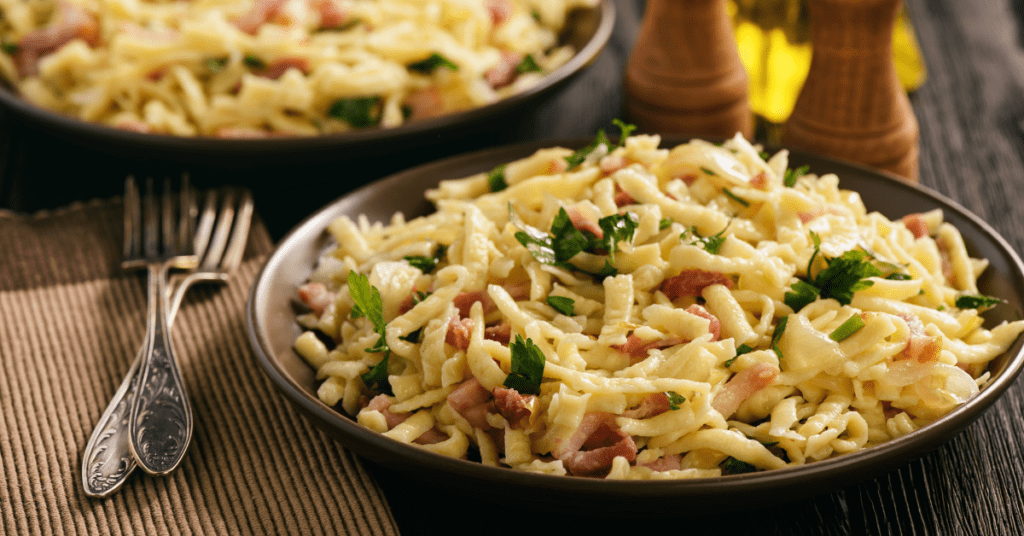 German Spaetzle with Bacon and Onions