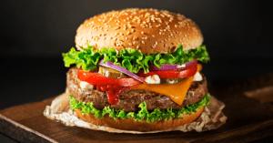 Hamburger with Sesame Seeds, Cheese and Veggies