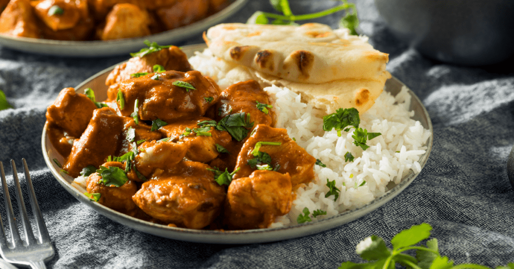 Homemade Buttered Chicken with Rice and Naan Bread