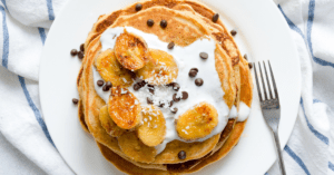Homemade Pancakes with Bananas and Chocolate Chips