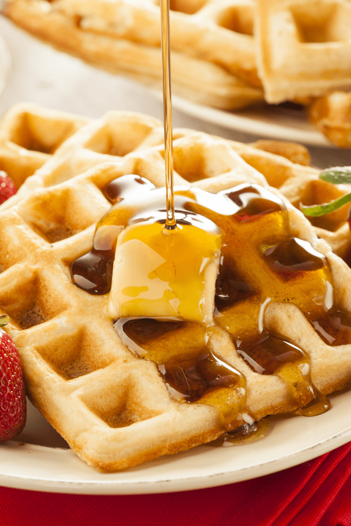 Homemade Waffles with Honey and Butter