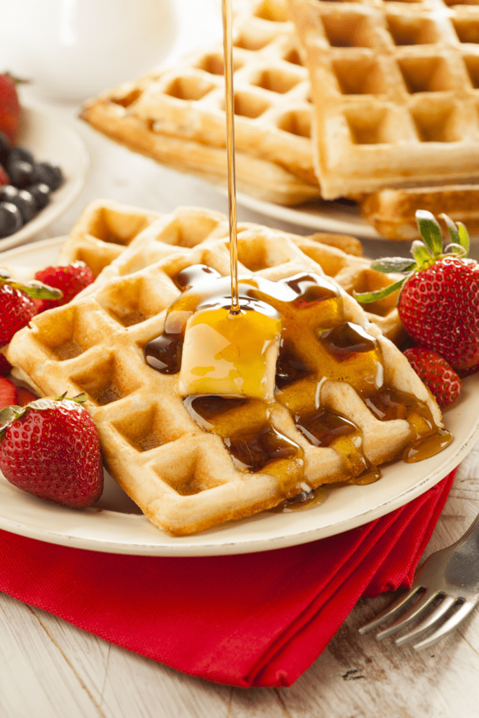 Waffles with Honey, Strawberry and Butter