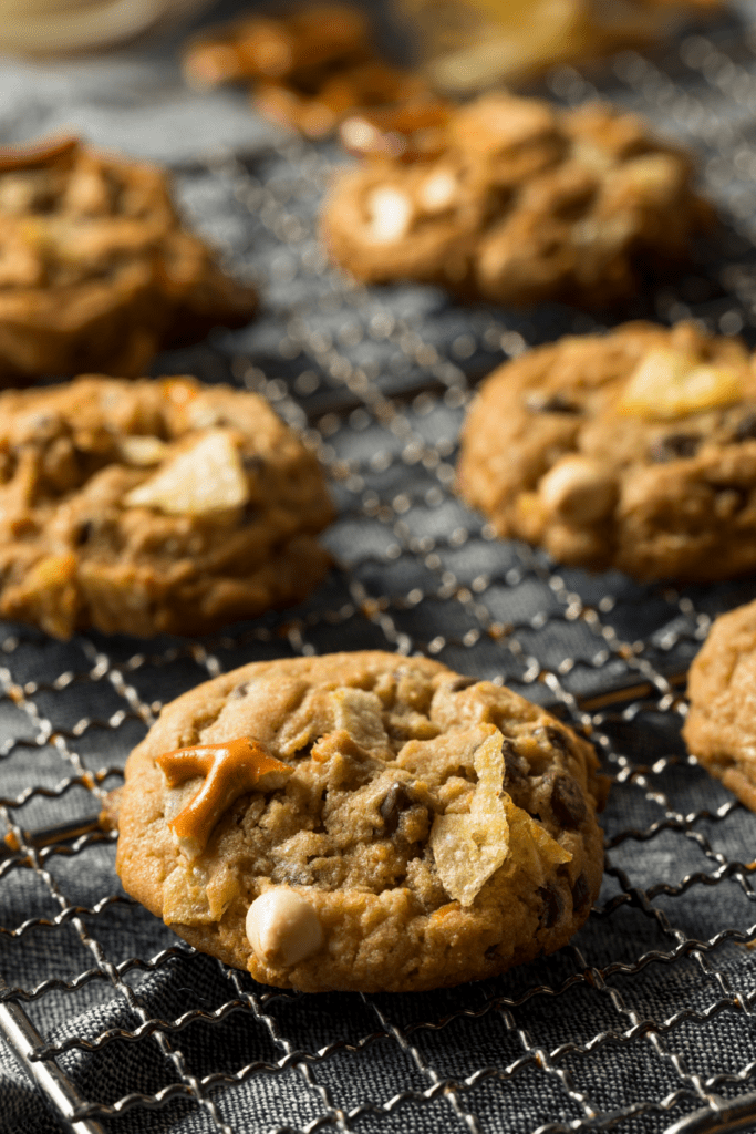 Homemade Chewy Cookies with Pretzels and Oats