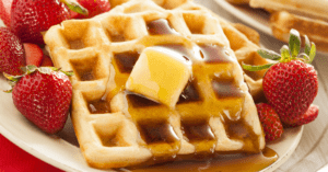 Homemade Waffles with Butter, Strawberry and Honey