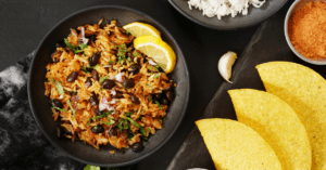 Mexican Rice with Taco Shells, Beans and Lemons