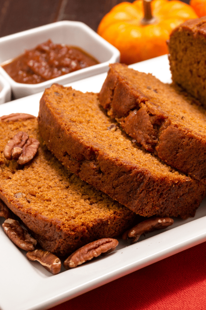 Pumpkin Bread with Nuts and Sauce
