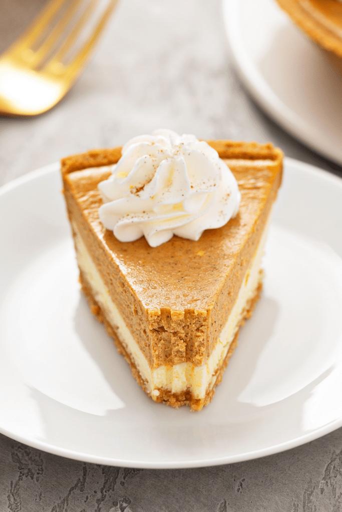 Slice of Pumpkin Layered Whipped Cream