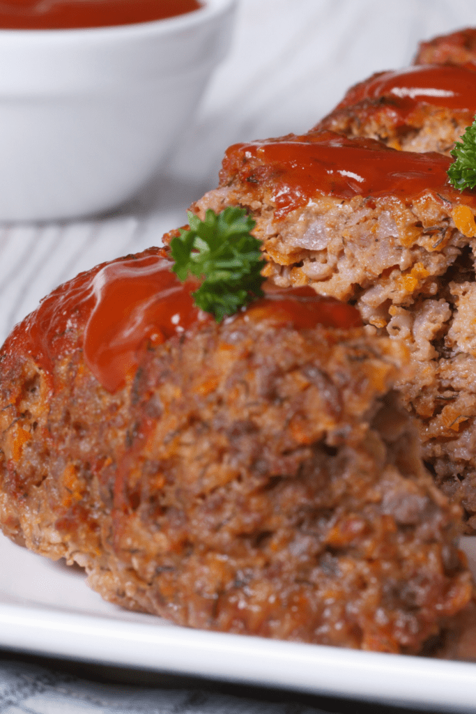Slices of Meatloaf with Ketchup and Parsely