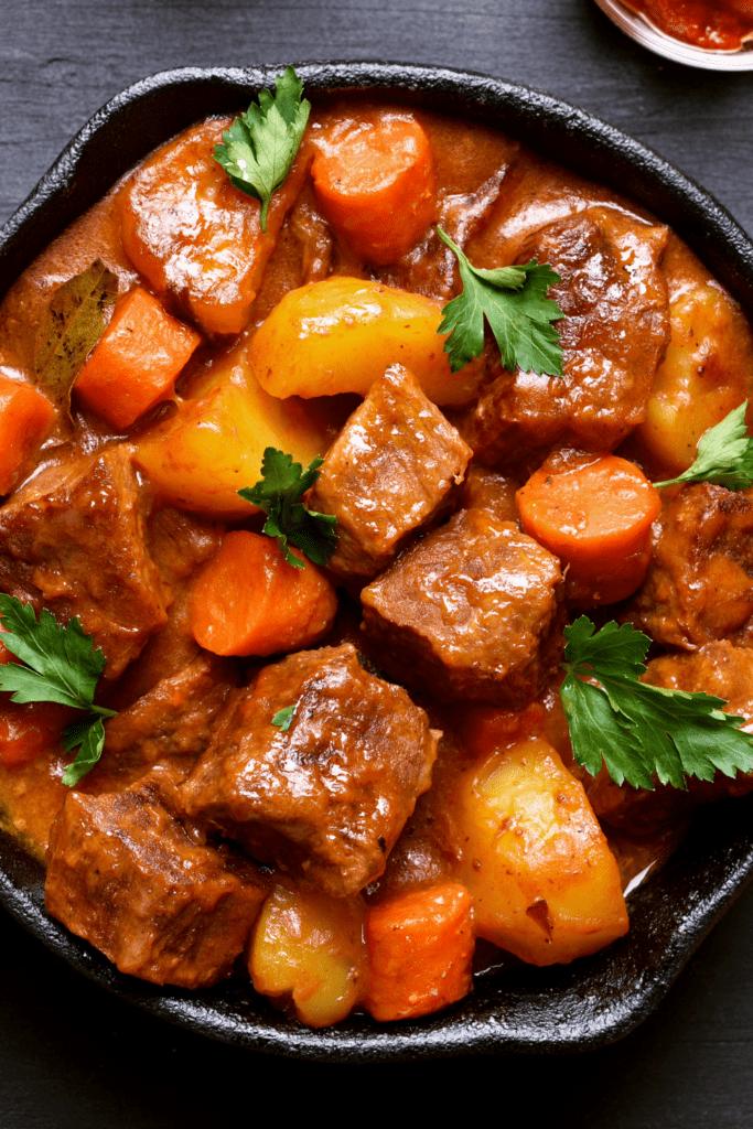 Homemade Beef Stew in an Iron Pan