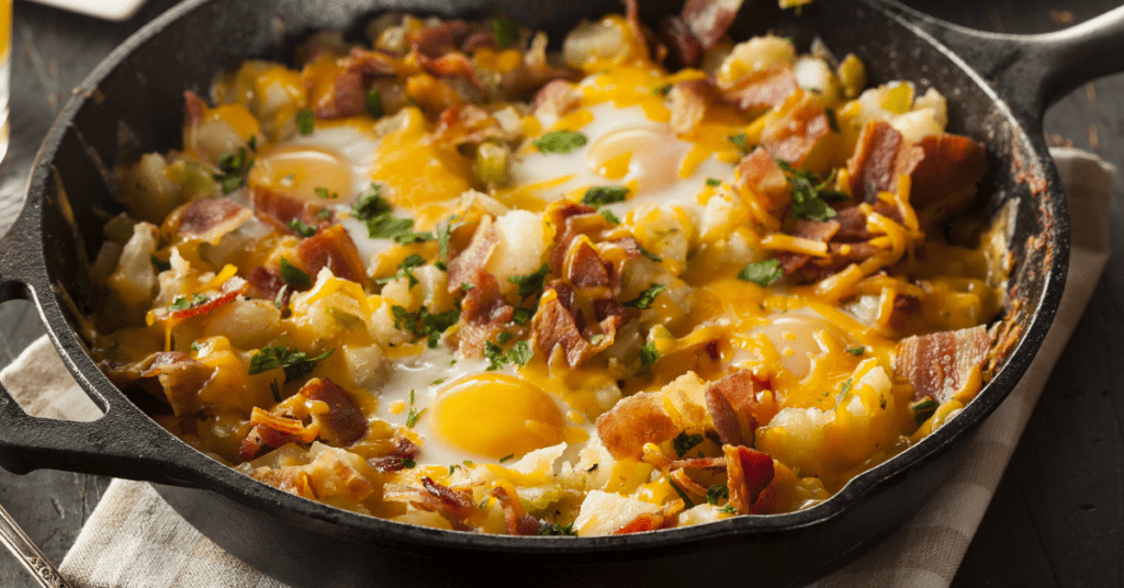 Breakfast Skillet with Eggs, Potatoes and Bacon