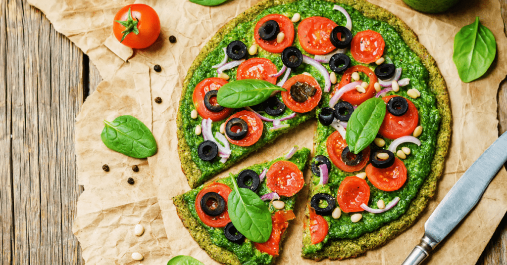 Broccoli and Zucchini Pizza with Pesto