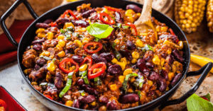 Chili Con Carne with Red Beans, Chili and Corn