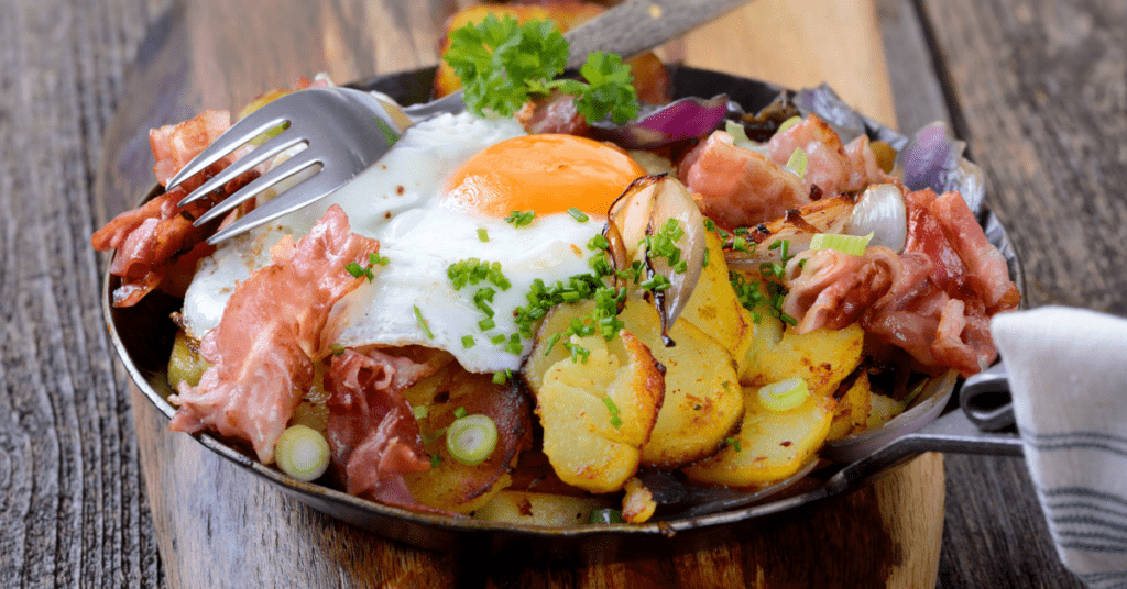 German Farmers Breakfast: Egg, Potatoes, Bacoon and Onions