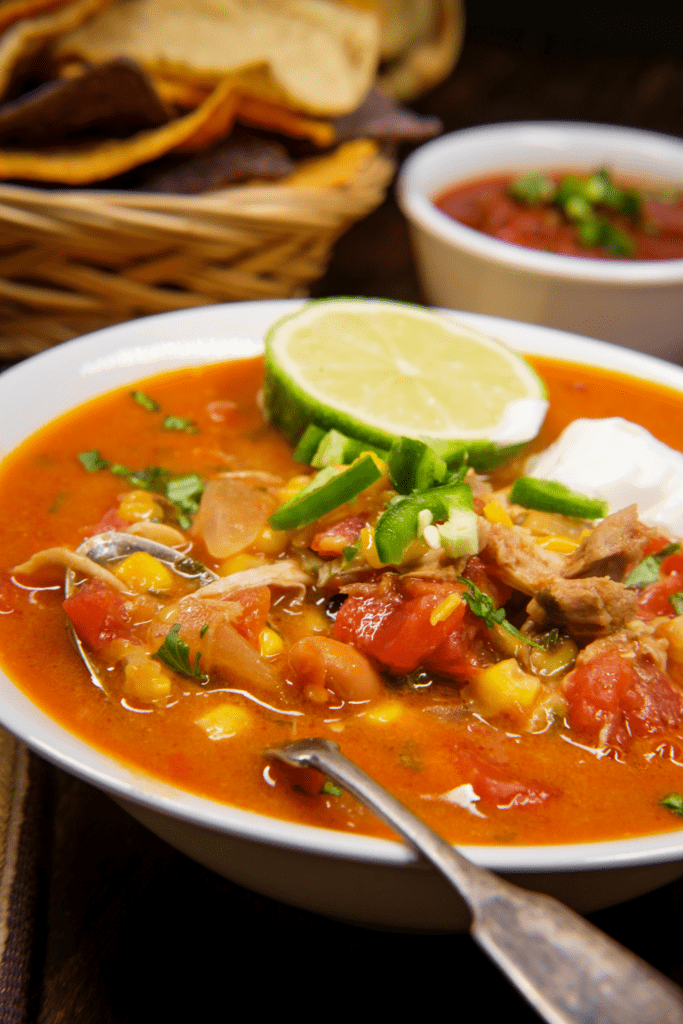 Tortilla Soup with Sour Cream and Lemon